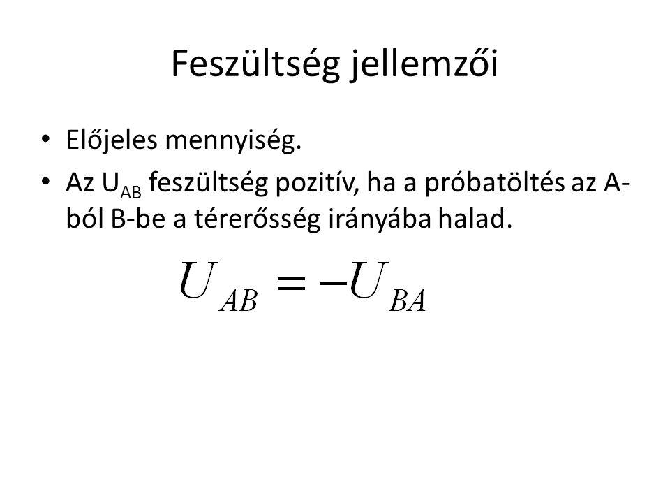 Feszültség jellemzői • Előjeles mennyiség. • Az U AB feszültség pozitív, ha a próbatöltés az A- ból B-be a térerősség irányába halad.