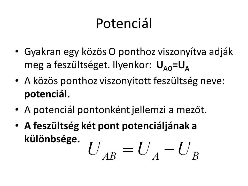 Potenciál • Gyakran egy közös O ponthoz viszonyítva adják meg a feszültséget. Ilyenkor: U AO =U A • A közös ponthoz viszonyított feszültség neve: pote