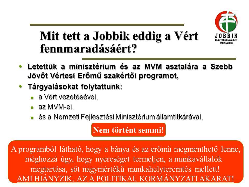 Mit tett a Jobbik eddig a Vért fennmaradásáért?  Letettük a minisztérium és az MVM asztalára a Szebb Jövőt Vértesi Erőmű szakértői programot,  Tárgy
