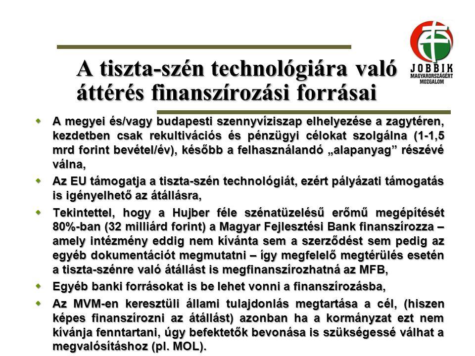 A tiszta-szén technológiára való áttérés finanszírozási forrásai  A megyei és/vagy budapesti szennyvíziszap elhelyezése a zagytéren, kezdetben csak r