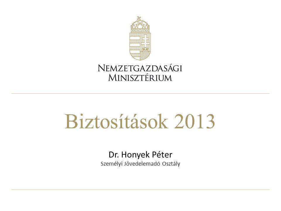 Biztosítások 2013 Dr. Honyek Péter Személyi Jövedelemadó Osztály