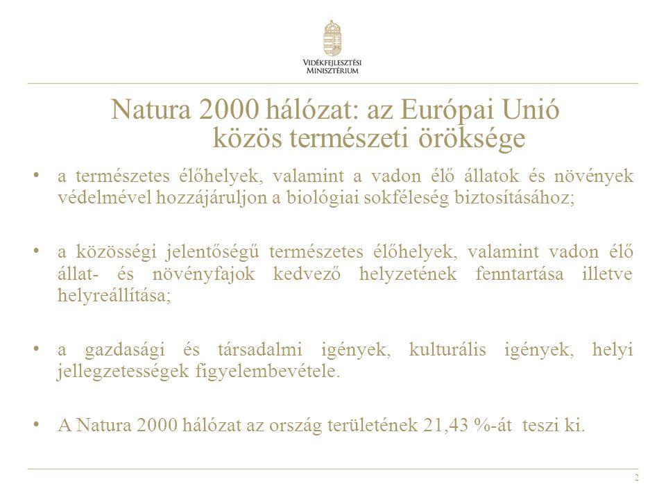 2 Natura 2000 hálózat: az Európai Unió közös természeti öröksége • a természetes élőhelyek, valamint a vadon élő állatok és növények védelmével hozzáj