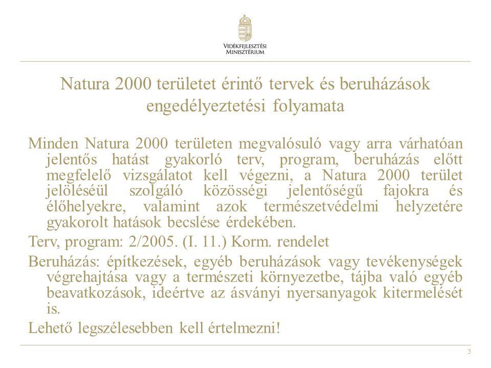 5 Natura 2000 területet érintő tervek és beruházások engedélyeztetési folyamata Minden Natura 2000 területen megvalósuló vagy arra várhatóan jelentős