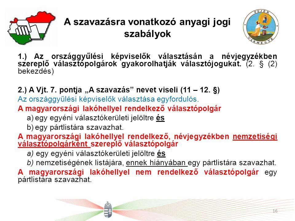 A szavazásra vonatkozó anyagi jogi szabályok 1.) Az országgyűlési képviselők választásán a névjegyzékben szereplő választópolgárok gyakorolhatják vála