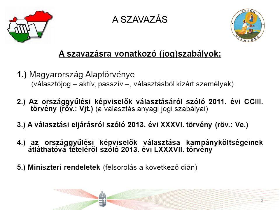 A SZAVAZÁS A szavazásra vonatkozó (jog)szabályok: 1.) Magyarország Alaptörvénye (választójog – aktív, passzív –, választásból kizárt személyek) 2.) Az országgyűlési képviselők választásáról szóló 2011.