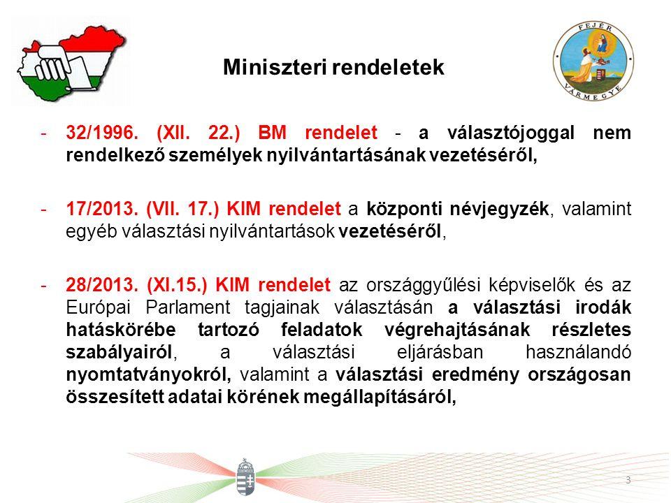 Miniszteri rendeletek -32/1996. (XII. 22.) BM rendelet - a választójoggal nem rendelkező személyek nyilvántartásának vezetéséről, -17/2013. (VII. 17.)