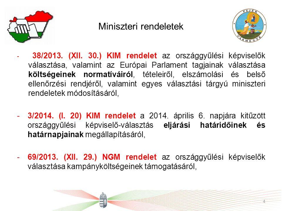 Miniszteri rendeletek - 38/2013. (XII. 30.) KIM rendelet az országgyűlési képviselők választása, valamint az Európai Parlament tagjainak választása kö