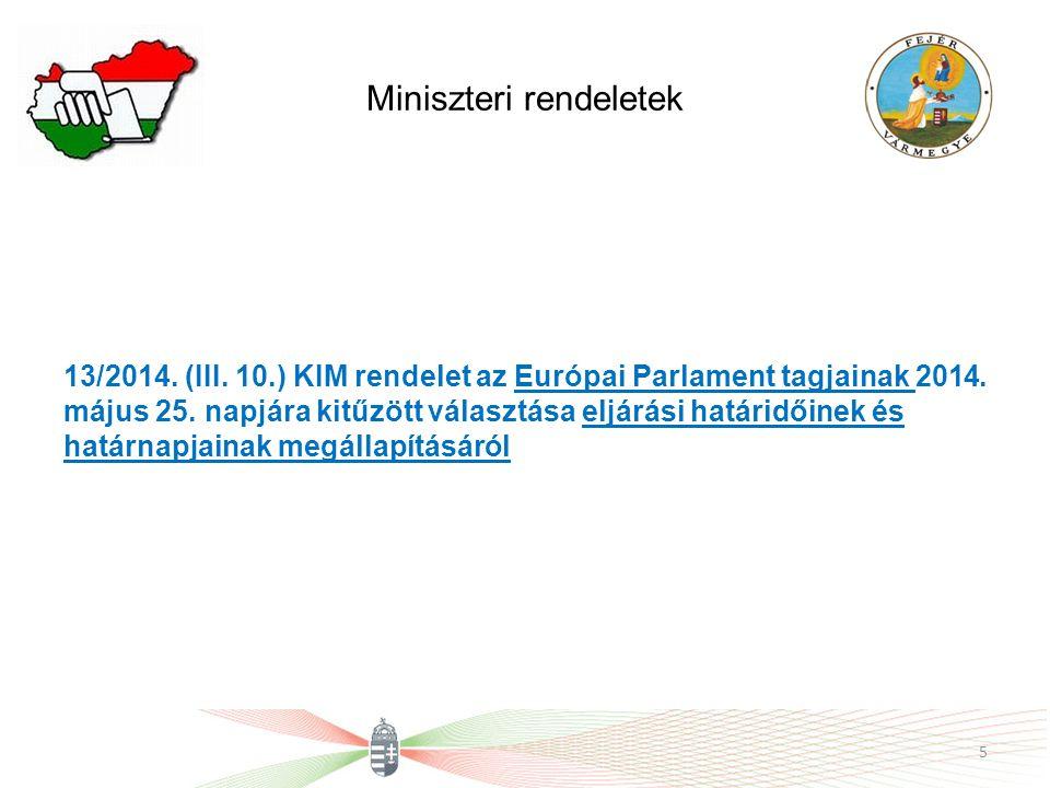 Miniszteri rendeletek 13/2014. (III. 10.) KIM rendelet az Európai Parlament tagjainak 2014. május 25. napjára kitűzött választása eljárási határidőine
