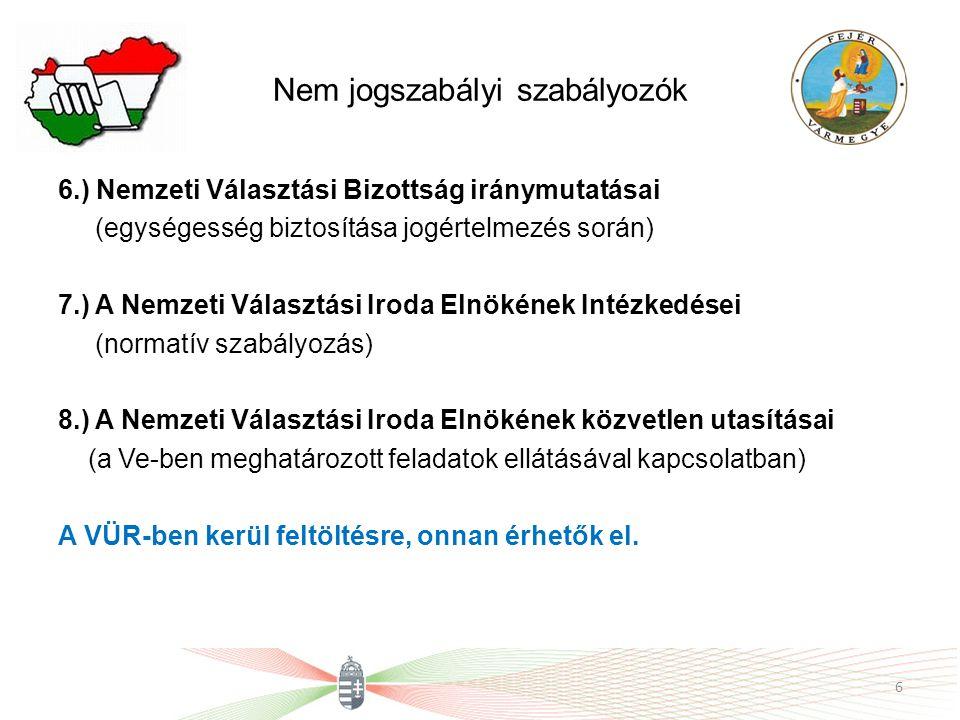 Nem jogszabályi szabályozók 6.) Nemzeti Választási Bizottság iránymutatásai (egységesség biztosítása jogértelmezés során) 7.) A Nemzeti Választási Iro