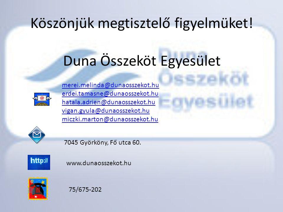 Köszönjük megtisztelő figyelmüket! Duna Összeköt Egyesület merei.melinda@dunaosszekot.hu erdei.tamasne@dunaosszekot.hu hatala.adrien@dunaosszekot.hu v