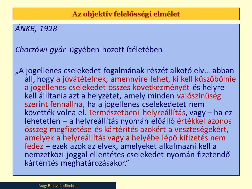 """Nagy Boldizsár előadása Az objektív felelősségi elmélet ÁNKB, 1928 Chorzówi gyár ügyében hozott ítéletében """"A jogellenes cselekedet fogalmának részét alkotó elv… abban áll, hogy a jóvátételnek, amennyire lehet, ki kell küszöbölnie a jogellenes cselekedet összes következményét és helyre kell állítania azt a helyzetet, amely minden valószínűség szerint fennállna, ha a jogellenes cselekedetet nem követték volna el."""