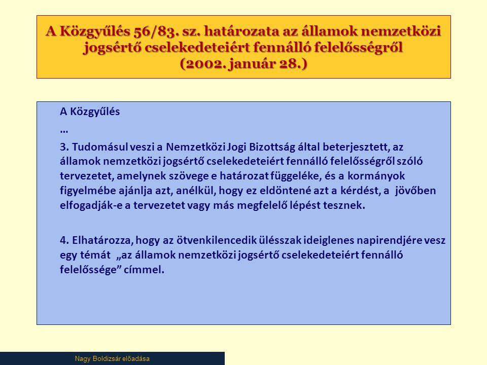 Nagy Boldizsár előadása A Közgyűlés 56/83. sz. határozata az államok nemzetközi jogsértő cselekedeteiért fennálló felelősségről (2002. január 28.) A K