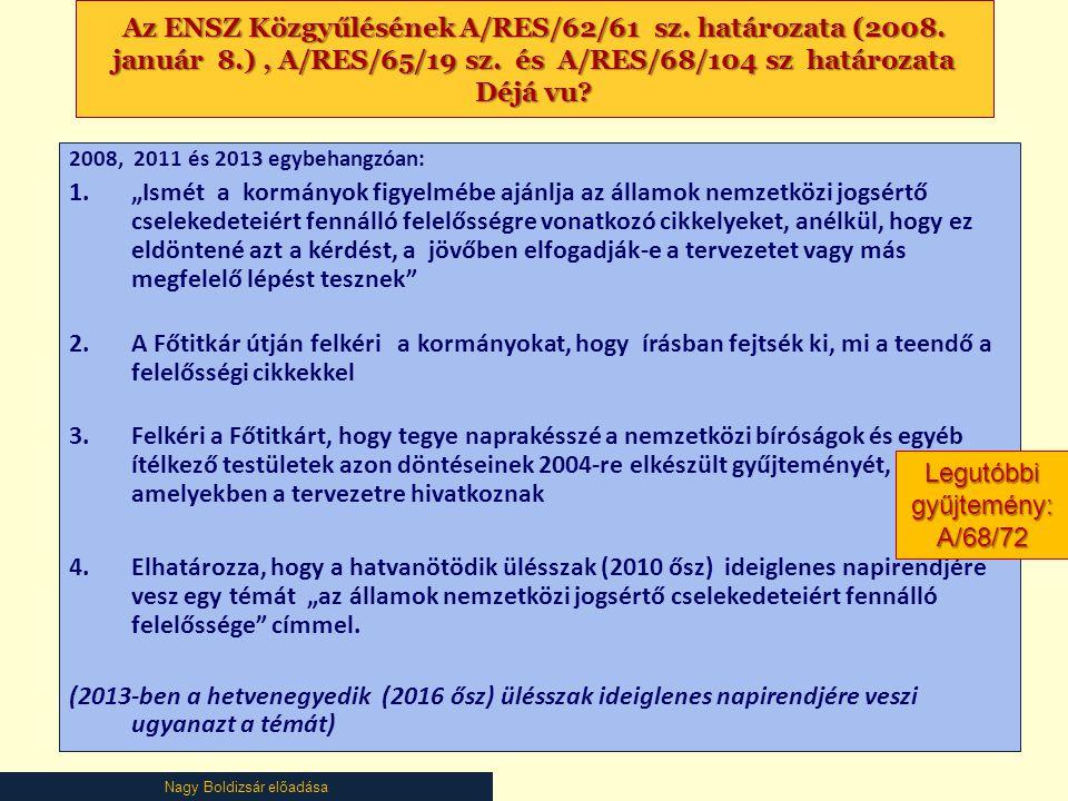 Nagy Boldizsár előadása Az ENSZ Közgyűlésének A/RES/62/61 sz. határozata (2008. január 8.), A/RES/65/19 sz. és A/RES/68/104 sz határozata Déjá vu? 200