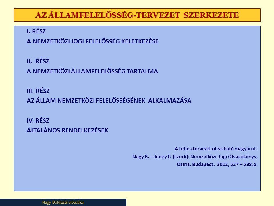 Nagy Boldizsár előadása AZ ÁLLAMFELELŐSSÉG-TERVEZET SZERKEZETE I.