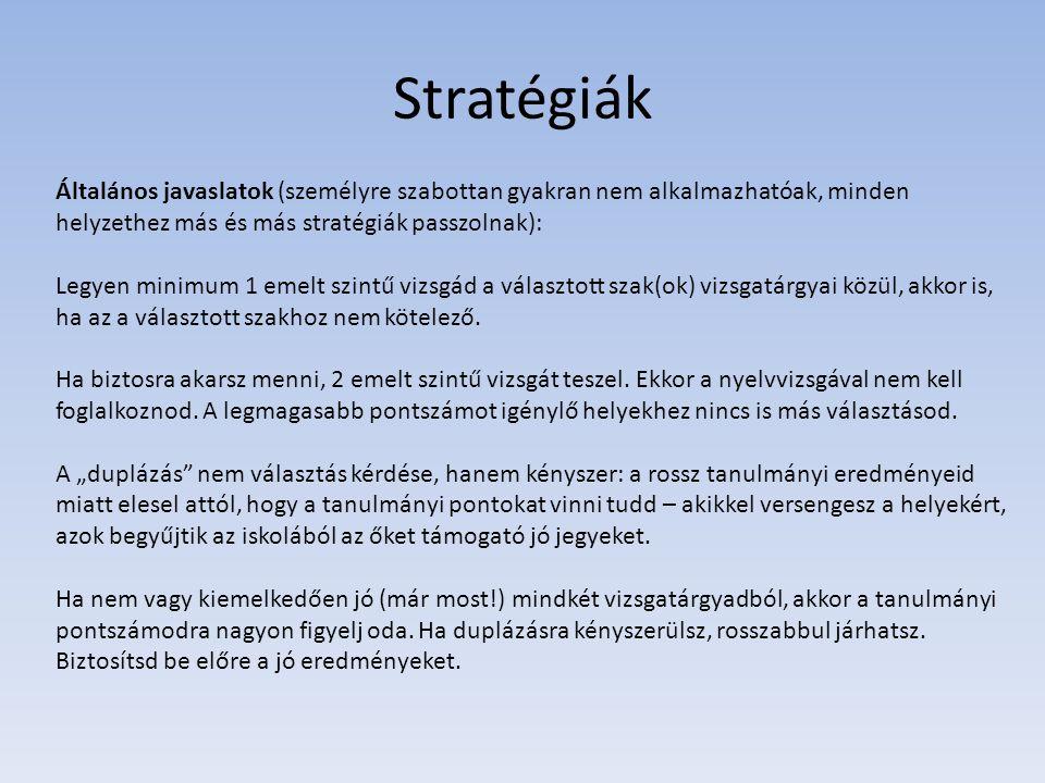 Stratégiák Általános javaslatok (személyre szabottan gyakran nem alkalmazhatóak, minden helyzethez más és más stratégiák passzolnak): Legyen minimum 1