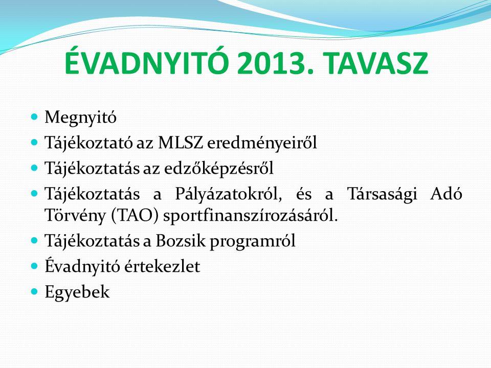 ÉVADNYITÓ 2013. TAVASZ  Megnyitó  Tájékoztató az MLSZ eredményeiről  Tájékoztatás az edzőképzésről  Tájékoztatás a Pályázatokról, és a Társasági A