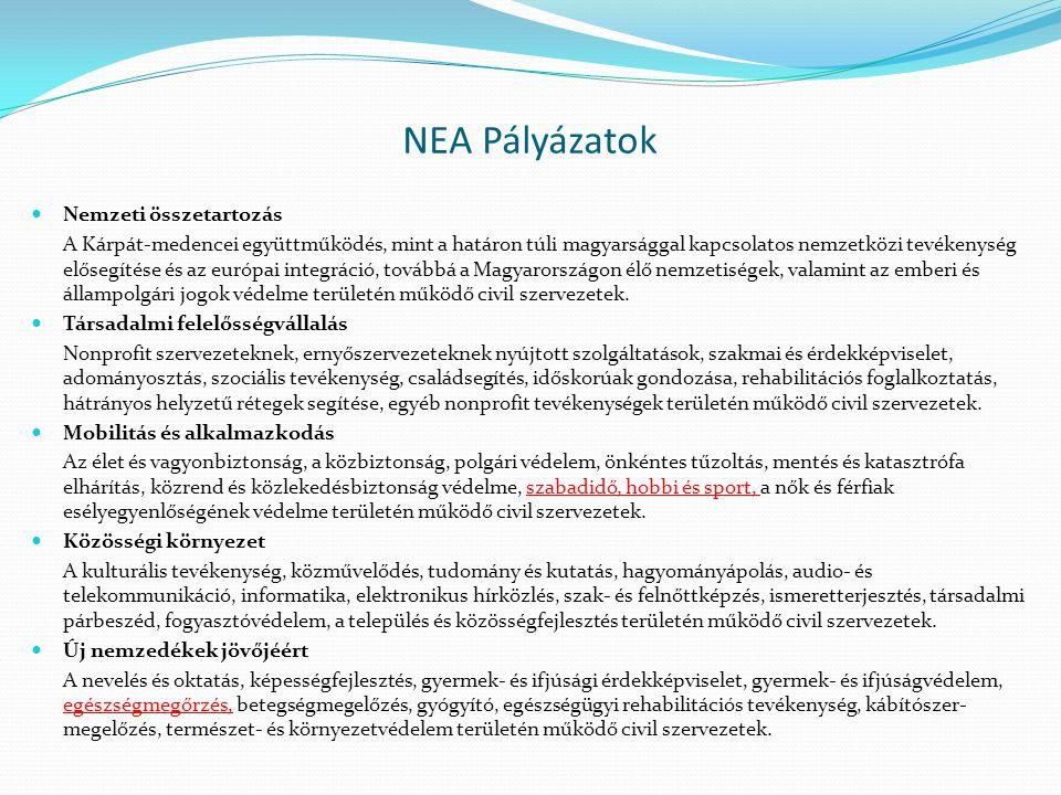 NEA Pályázatok  Nemzeti összetartozás A Kárpát-medencei együttműködés, mint a határon túli magyarsággal kapcsolatos nemzetközi tevékenység elősegítése és az európai integráció, továbbá a Magyarországon élő nemzetiségek, valamint az emberi és állampolgári jogok védelme területén működő civil szervezetek.