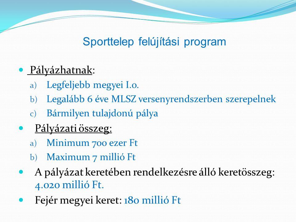 Sporttelep felújítási program  Pályázhatnak: a) Legfeljebb megyei I.o. b) Legalább 6 éve MLSZ versenyrendszerben szerepelnek c) Bármilyen tulajdonú p