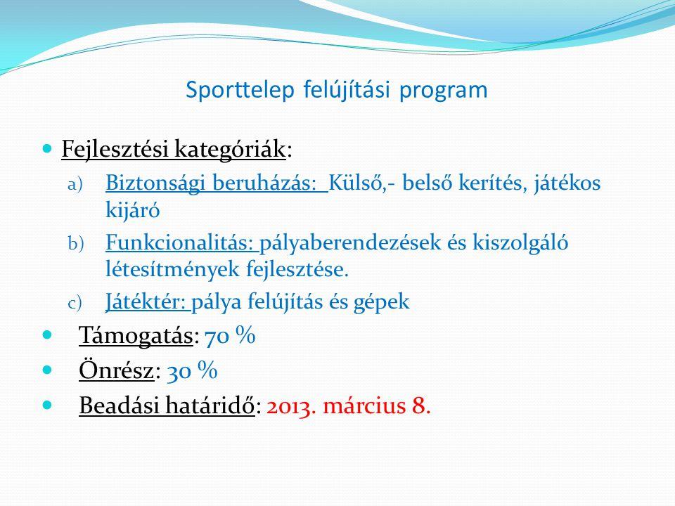 Sporttelep felújítási program  Fejlesztési kategóriák: a) Biztonsági beruházás: Külső,- belső kerítés, játékos kijáró b) Funkcionalitás: pályaberende