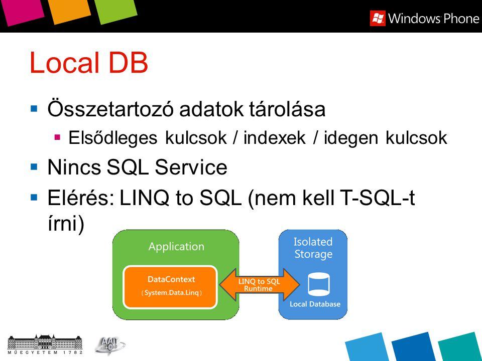 Local DB  Összetartozó adatok tárolása  Elsődleges kulcsok / indexek / idegen kulcsok  Nincs SQL Service  Elérés: LINQ to SQL (nem kell T-SQL-t írni)