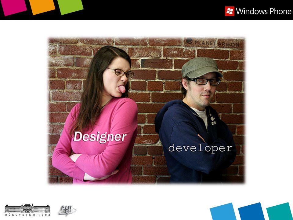 Blend  Vízió, elképzelés a fejlesztő és a dizájner együttműködése  Használjunk MVVM-et.