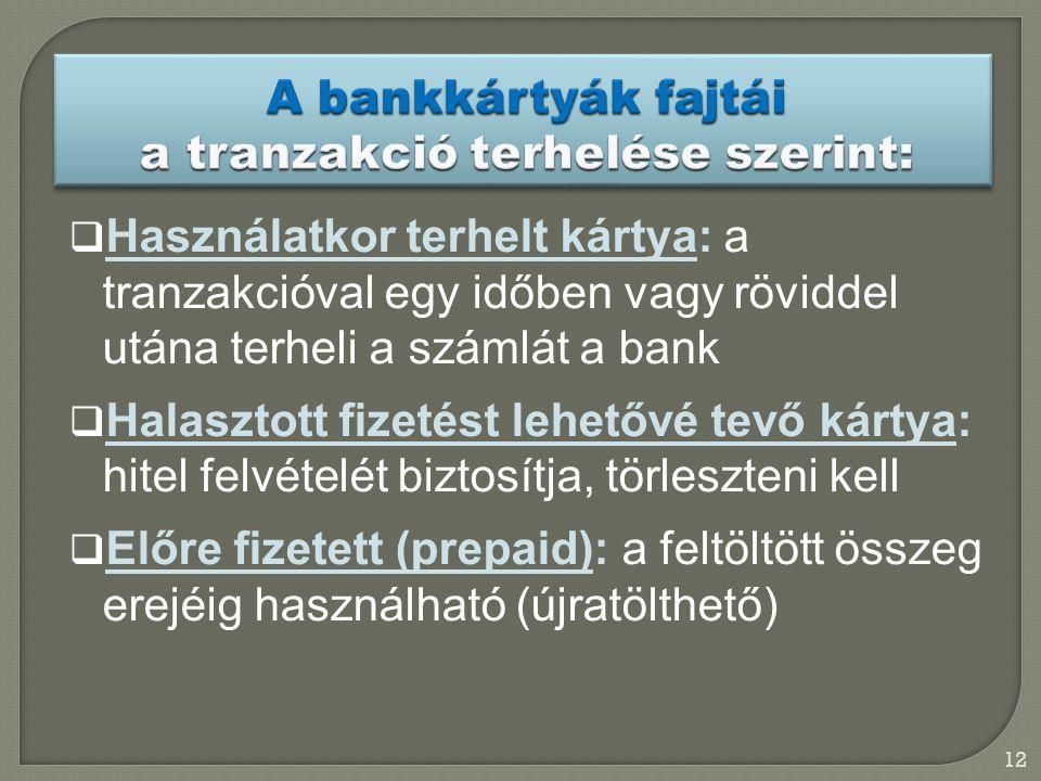 12  Használatkor terhelt kártya: a tranzakcióval egy időben vagy röviddel utána terheli a számlát a bank  Halasztott fizetést lehetővé tevő kártya: hitel felvételét biztosítja, törleszteni kell  Előre fizetett (prepaid): a feltöltött összeg erejéig használható (újratölthető)