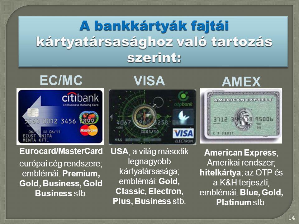 14 VISA USA, a világ második legnagyobb kártyatársasága; emblémái: Gold, Classic, Electron, Plus, Business stb. EC/MC Eurocard/MasterCard európai cég