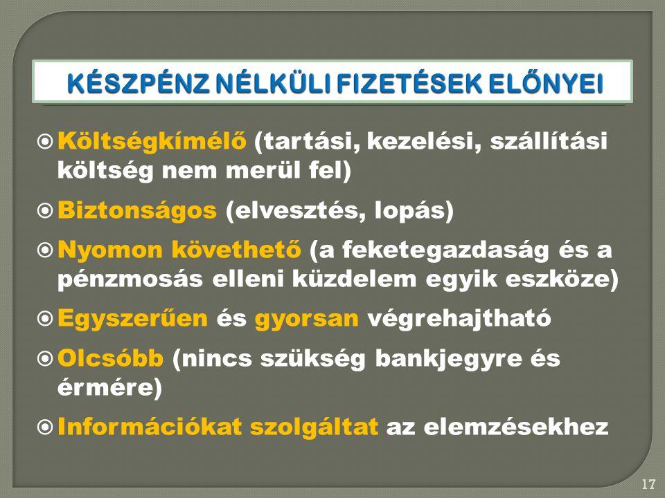  Költségkímélő (tartási, kezelési, szállítási költség nem merül fel)  Biztonságos (elvesztés, lopás)  Nyomon követhető (a feketegazdaság és a pénzm