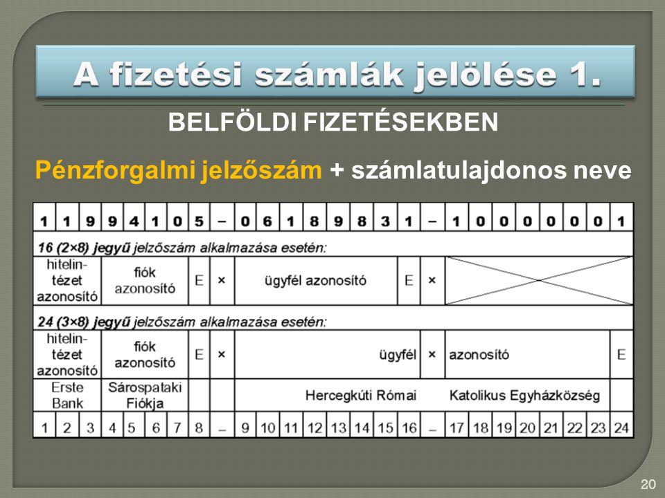 20 BELFÖLDI FIZETÉSEKBEN Pénzforgalmi jelzőszám + számlatulajdonos neve