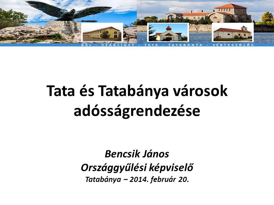 Tata és Tatabánya városok adósságrendezése Bencsik János Országgyűlési képviselő Tatabánya – 2014.