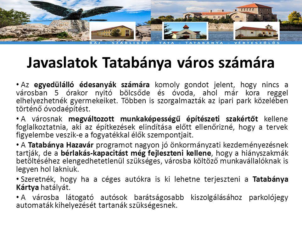 Javaslatok Tatabánya város számára • Az egyedülálló édesanyák számára komoly gondot jelent, hogy nincs a városban 5 órakor nyitó bölcsőde és óvoda, ahol már kora reggel elhelyezhetnék gyermekeiket.