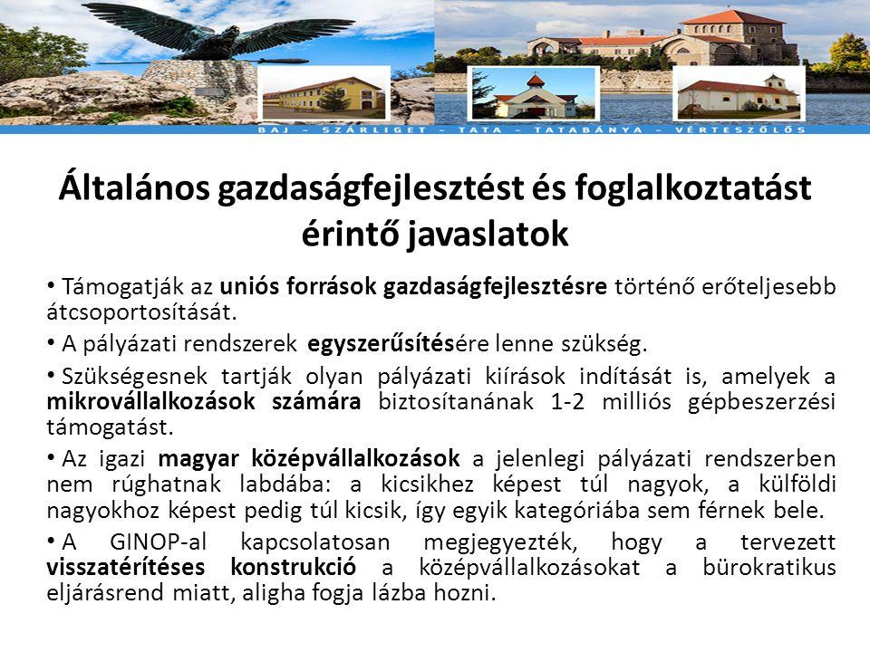 Általános gazdaságfejlesztést és foglalkoztatást érintő javaslatok • Támogatják az uniós források gazdaságfejlesztésre történő erőteljesebb átcsoportosítását.