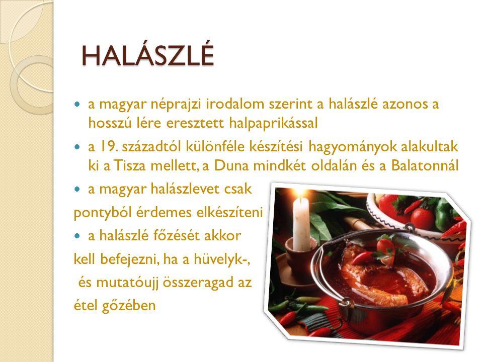 HALÁSZLÉ  a magyar néprajzi irodalom szerint a halászlé azonos a hosszú lére eresztett halpaprikással  a 19. századtól különféle készítési hagyomány