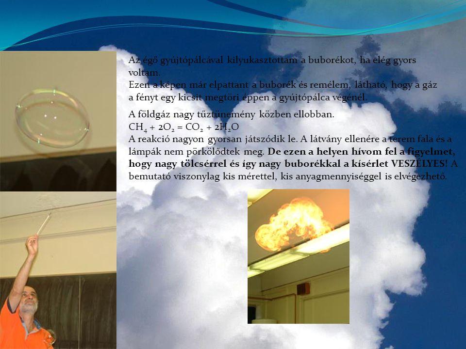 Az égő gyújtópálcával kilyukasztottam a buborékot, ha elég gyors voltam. Ezen a képen már elpattant a buborék és remélem, látható, hogy a gáz a fényt