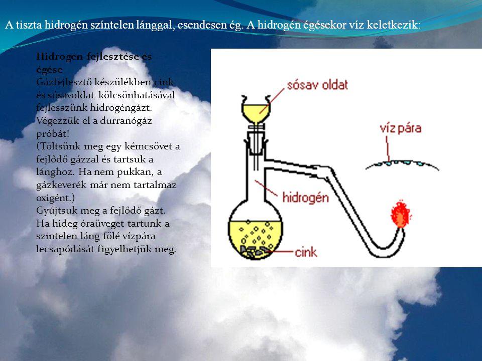 Hidrogén fejlesztése és égése Gázfejlesztő készülékben cink és sósavoldat kölcsönhatásával fejlesszünk hidrogéngázt. Végezzük el a durranógáz próbát!