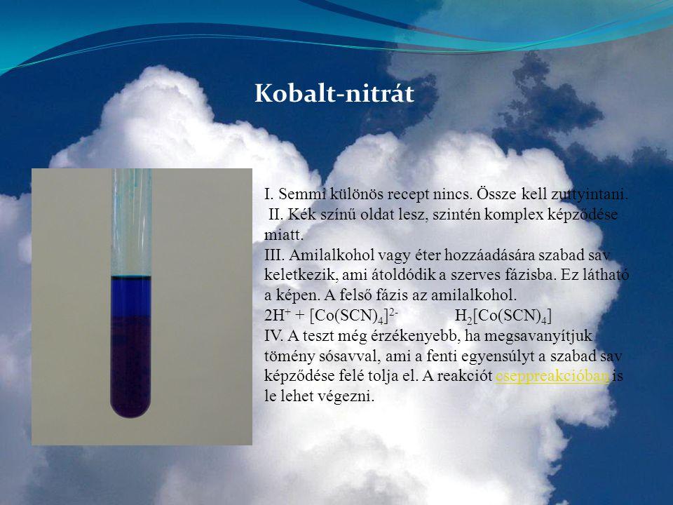 Kobalt-nitrát I. Semmi különös recept nincs. Össze kell zuttyintani. II. Kék színű oldat lesz, szintén komplex képződése miatt. III. Amilalkohol vagy