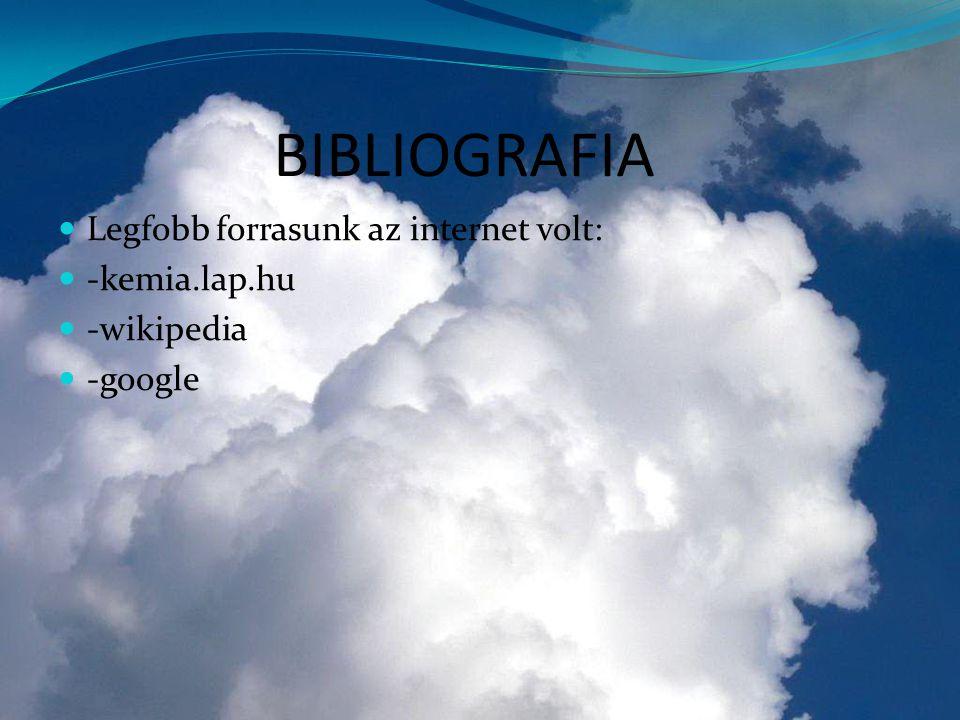 BIBLIOGRAFIA  Legfobb forrasunk az internet volt:  -kemia.lap.hu  -wikipedia  -google