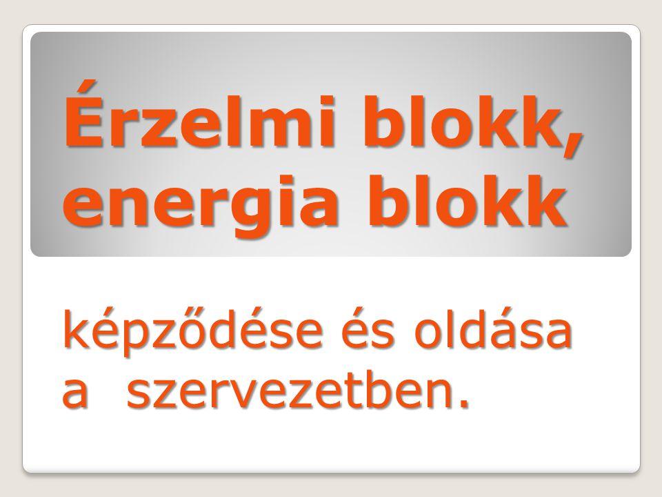 Érzelmi blokk, energia blokk képződése és oldása a szervezetben.