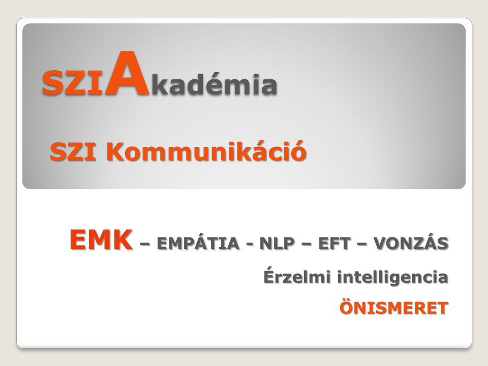 SZI A kadémia SZI Kommunikáció EMK – EMPÁTIA - NLP – EFT – VONZÁS Érzelmi intelligencia ÖNISMERET