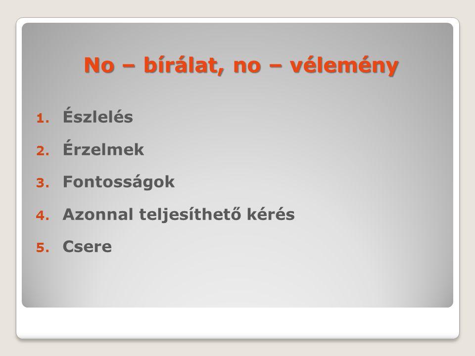 No – bírálat, no – vélemény 1. Észlelés 2. Érzelmek 3. Fontosságok 4. Azonnal teljesíthető kérés 5. Csere