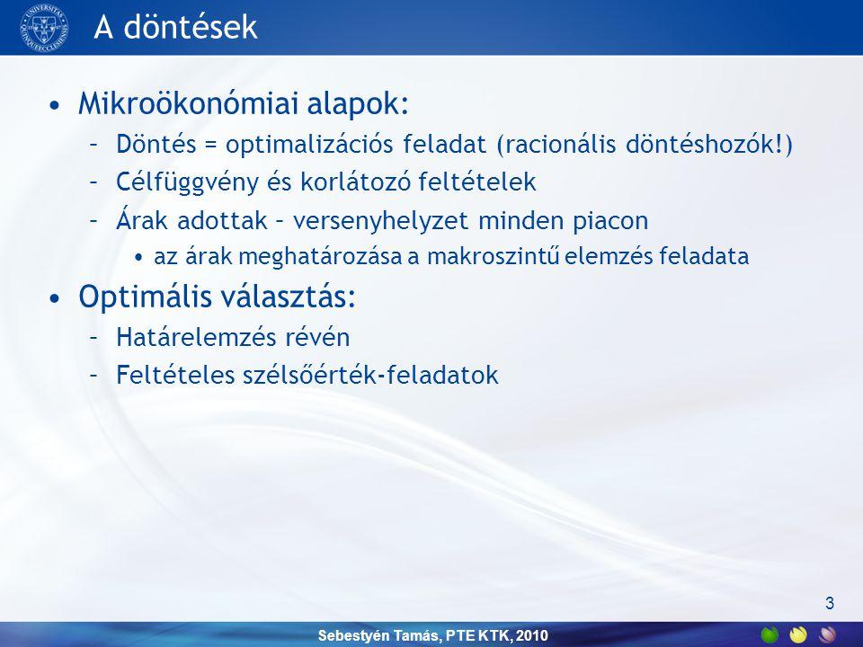 Sebestyén Tamás, PTE KTK, 2010 Vállalatok •Célfüggvény: profitfüggvény •Korlátozó feltétel: termelési függvény 4