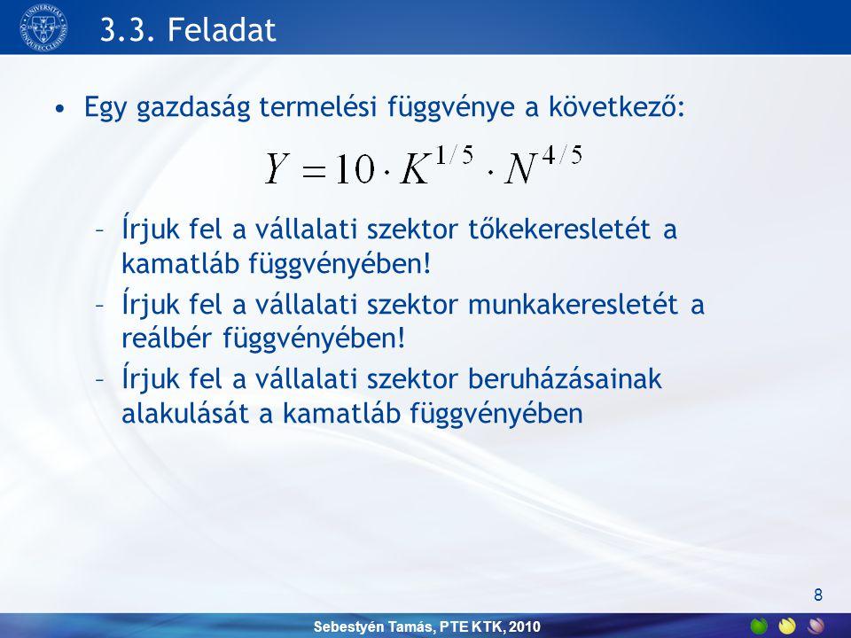 Sebestyén Tamás, PTE KTK, 2010 Háztartások •Munkakínálat –Szabadidő vs.