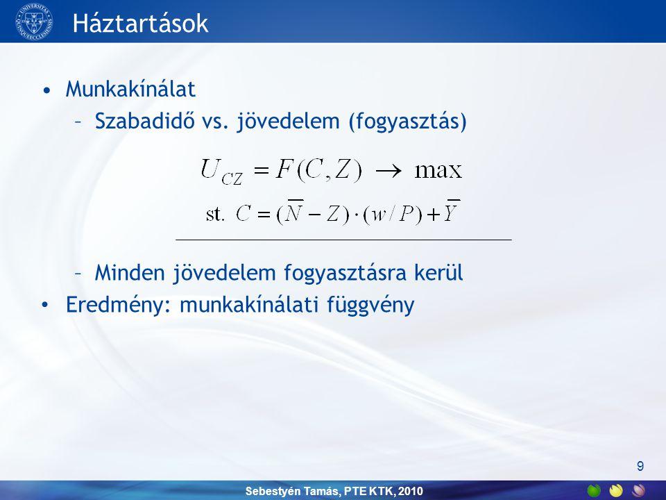 Sebestyén Tamás, PTE KTK, 2010 Háztartások •Megtakarítás –jelenbeli vs.