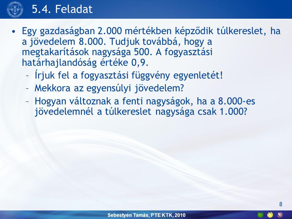 Sebestyén Tamás, PTE KTK, 2010 5.4. Feladat •Egy gazdaságban 2.000 mértékben képződik túlkereslet, ha a jövedelem 8.000. Tudjuk továbbá, hogy a megtak
