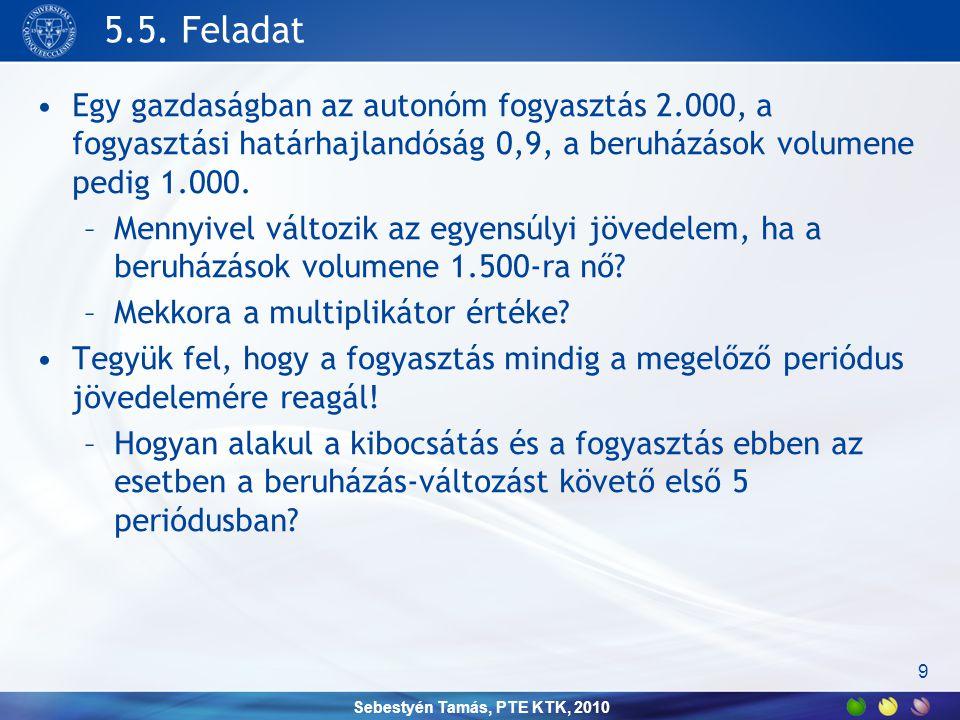 Sebestyén Tamás, PTE KTK, 2010 5.5. Feladat •Egy gazdaságban az autonóm fogyasztás 2.000, a fogyasztási határhajlandóság 0,9, a beruházások volumene p