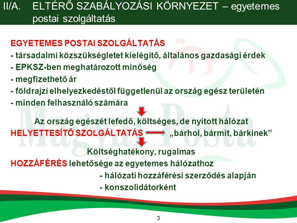 4 II/B.ELTÉRŐ SZABÁLYOZÁSI KÖRNYEZET - A Magyar Posta, mint állami vállalat I.