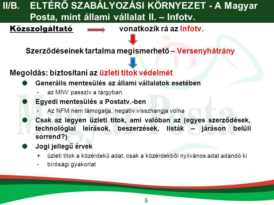 5 II/B.ELTÉRŐ SZABÁLYOZÁSI KÖRNYEZET - A Magyar Posta, mint állami vállalat II. – Infotv. Közszolgáltató vonatkozik rá az Infotv. Szerződéseinek tarta