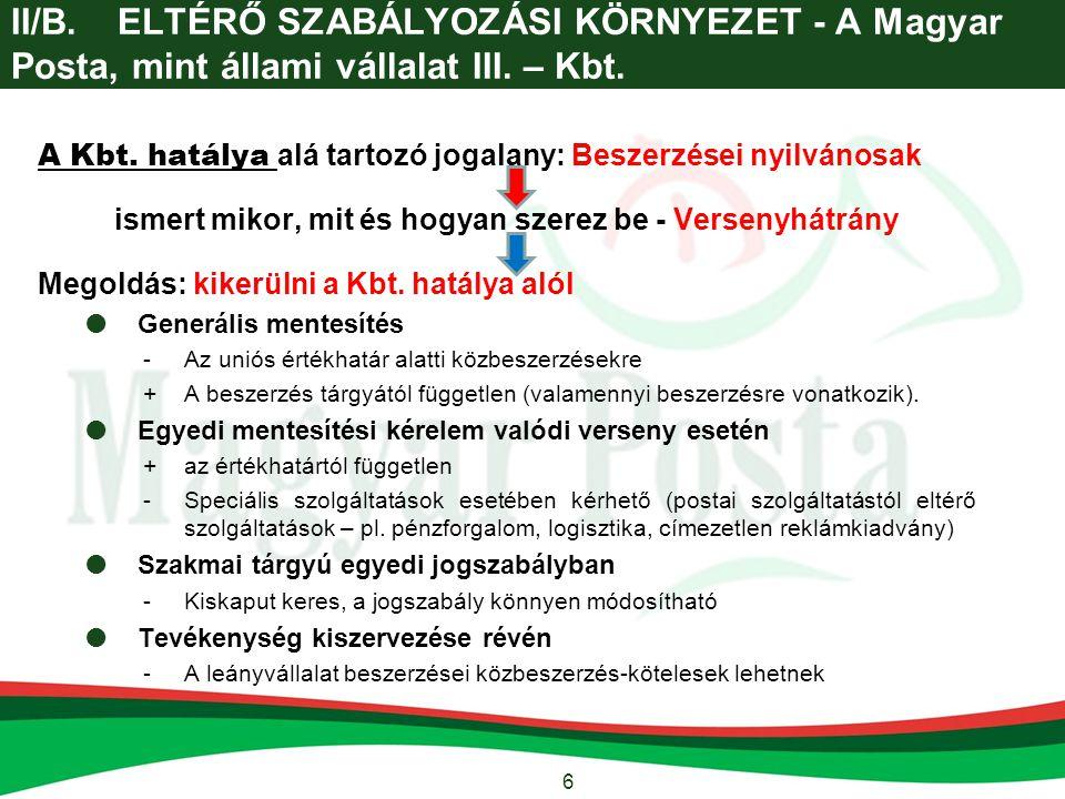 6 II/B.ELTÉRŐ SZABÁLYOZÁSI KÖRNYEZET - A Magyar Posta, mint állami vállalat III. – Kbt. A Kbt. hatálya alá tartozó jogalany: Beszerzései nyilvánosak i