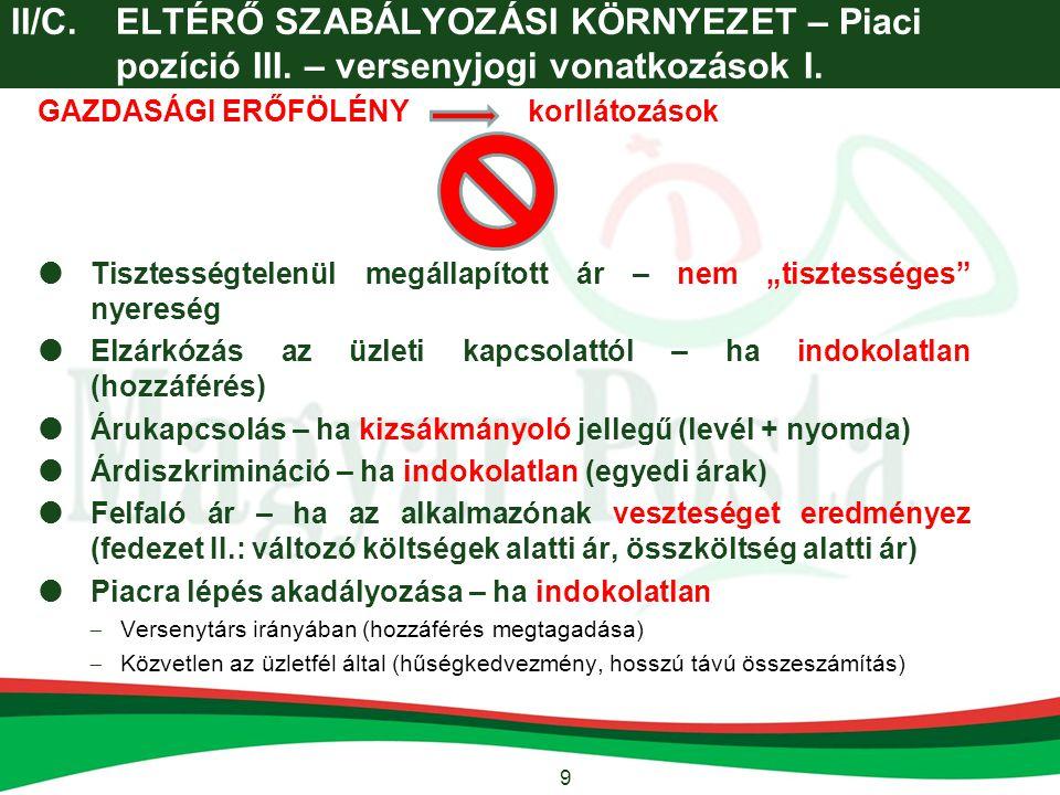 10 II/C.ELTÉRŐ SZABÁLYOZÁSI KÖRNYEZET – Piaci pozíció III.