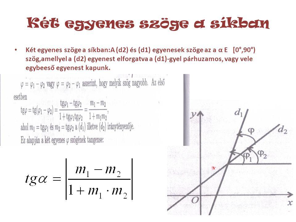 Két egyenes szöge a síkban • Két egyenes szöge a síkban:A (d2) és (d1) egyenesek szöge az a α E [0°,90°) szög,amellyel a (d2) egyenest elforgatva a (d1)-gyel párhuzamos, vagy vele egybeeső egyenest kapunk.